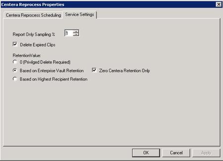 Centera Reprocess Properties
