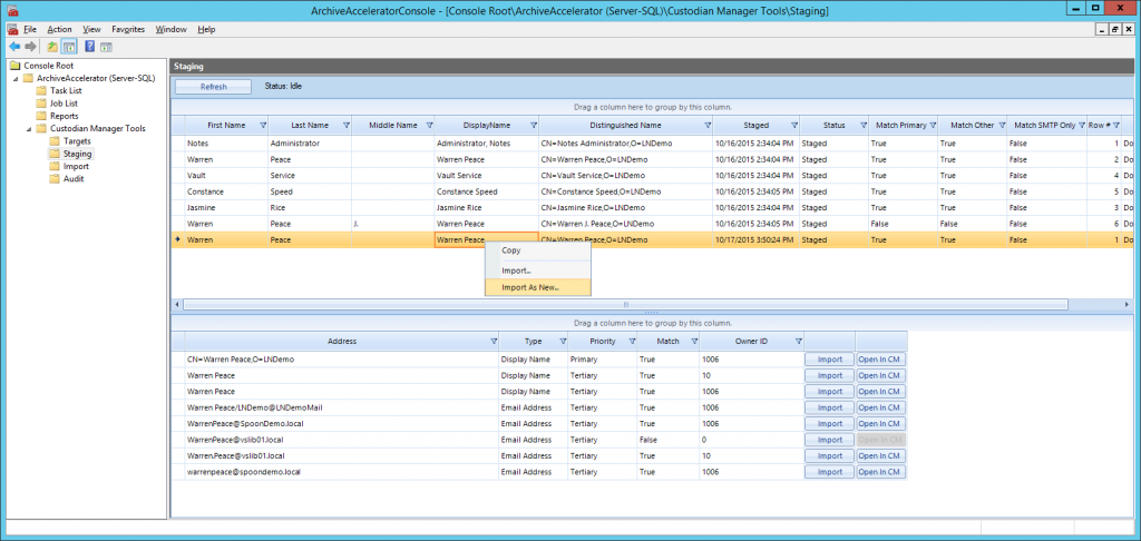 Archive Accelerator Custodian Manager Tools Staging View